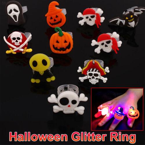23C2 10 Pcs LED Ring Light Ring Birthday Halloween Flashing Ring Multi-Color