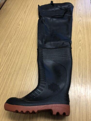 DUNLOP SAFETY THIGH WADER STEEL TOE CAP WELLINGTON BOOTS BLACK  UK SIZE 7 41