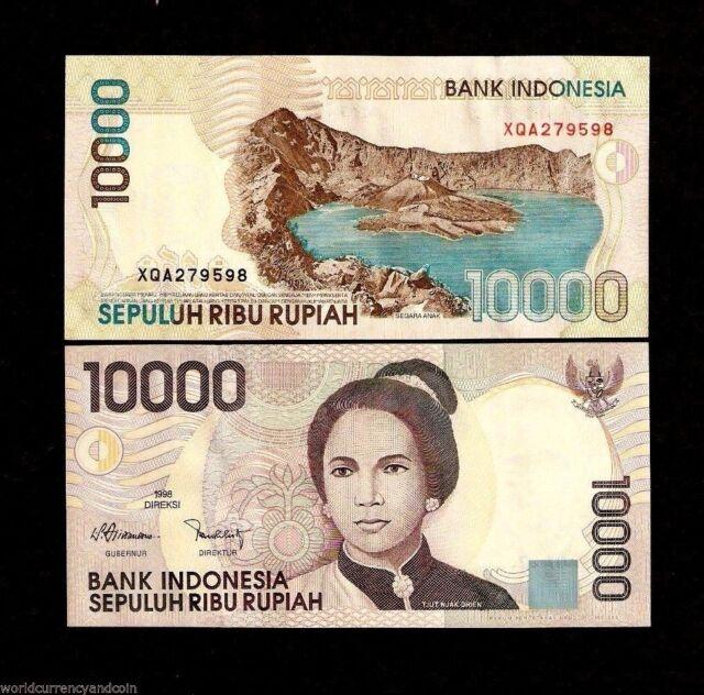 INDONESIA 10000 RUPIAH P137 1998 *REPLACEMENT* XQA TJUT VOLCANO LAKE MONEY NOTE
