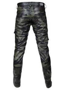 Mens-Hot-Genuine-Leather-Camo-Pants-Nightclub-Trousers-Kink-Gay-Bluf-Trousers
