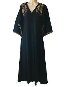 Vtg-Black-Abaya-Dress-Maxi-Dashiki-Esoteric-Indie-Hippie-Pagan-Xmas-UK-8