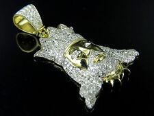 """10K Yellow Gold Crowned Jesus Facial Genuine Diamond Pendant 1Ct 1.4"""""""