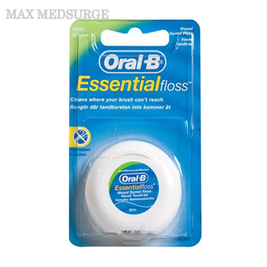 ORAL B Essential Dental Waxed Floss - 50m Length Mint Flavour, New Sealed