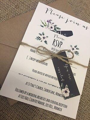 1 Rustic/Vintage 'Ellie' wedding invitation stationery sample & RSVP/tag/twine