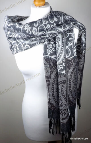 T011 Lady Classic Scarf Stole //Wrap//Shawl//Party Cover Up Xmas Gift UK Free P/&P