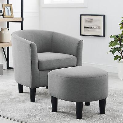 Modern Arm Chair Curved Back W Ottoman
