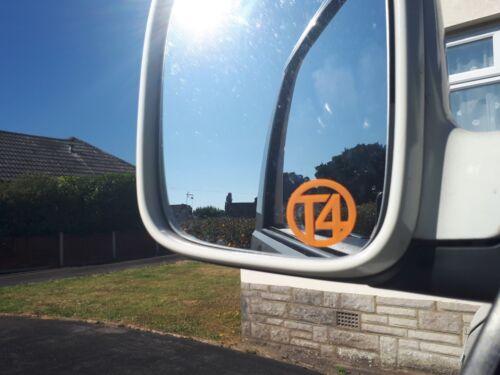 X2 VW T4 transporter wing mirror decals in orange Volkswagen window