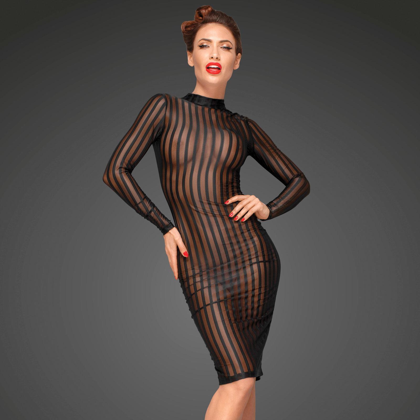 Noir Handmade Transparent Dress Stripe Mesh Dress Transparent Mesh Dress