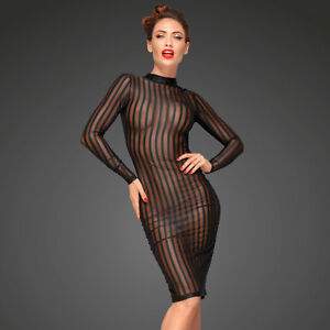 NOIR-HANDMADE-Transparentes-Kleid-Streifen-Netzkleid-Durchsichtig-Mesh-Dress