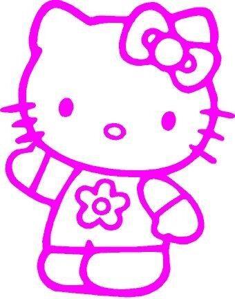 PINK Vinyl Decal Hello Kitty Wave fun girl car truck