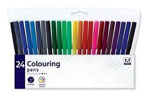 24 Confezione Pennarelli Disegno Marcatori Dipinto Colorante Arte Scuola UK