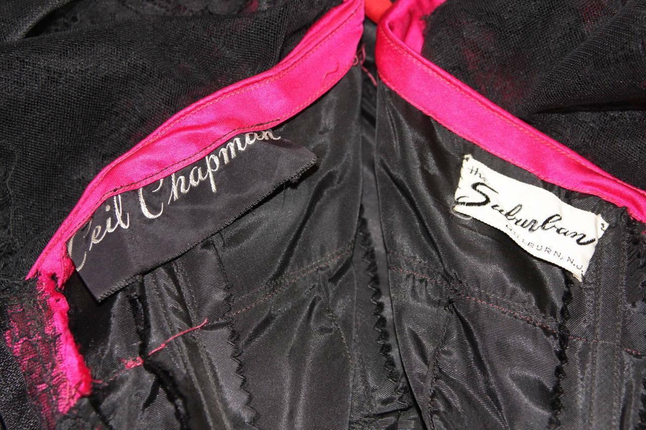 CEIL CHAPMAN Black Lace Cocktail Dress with Large… - image 11