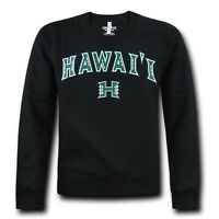Black University Of Hawaii Rainbow Warriors Fleece Crewneck Pullover Sweater