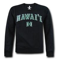 Black University Of Hawaii Rainbow Warriors Fleece Crewneck Pullover Sweater