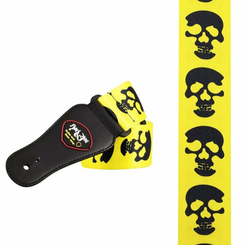 Guitar Strap skulls graphics on yellow rock metal cool kids S-XL size gift xmas
