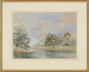 Betty-Whitefield-Signed-amp-Framed-1986-Pastel-Water-Meadows-Suffolk