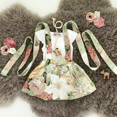 Smart For Toddler Baby Girl Short Sleeve Floral Romper+skirt Dress Kids Outfit Clothes Selected Material