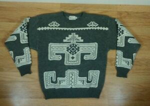 698ca30c808a Vintage 70s Aztec Indian Navajo pattern All Over Print Ski Sweater M ...
