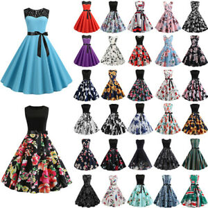 Details About Womens Vintage 1950s Year 60 Rockabilly Party Dress Evening Flight Show Original Title