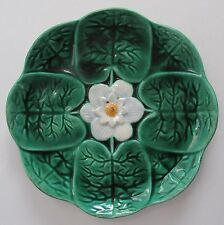 """Antique Majolica Plate by Joseph Holdcroft 8 5/8"""" Green Water Lily c1870"""