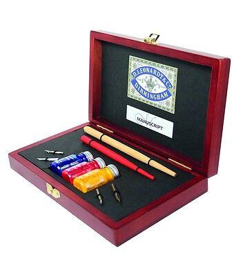 N4605 Manuscript Victoriana Artists Wooden Box Set Dip Drawing Mapping Pens
