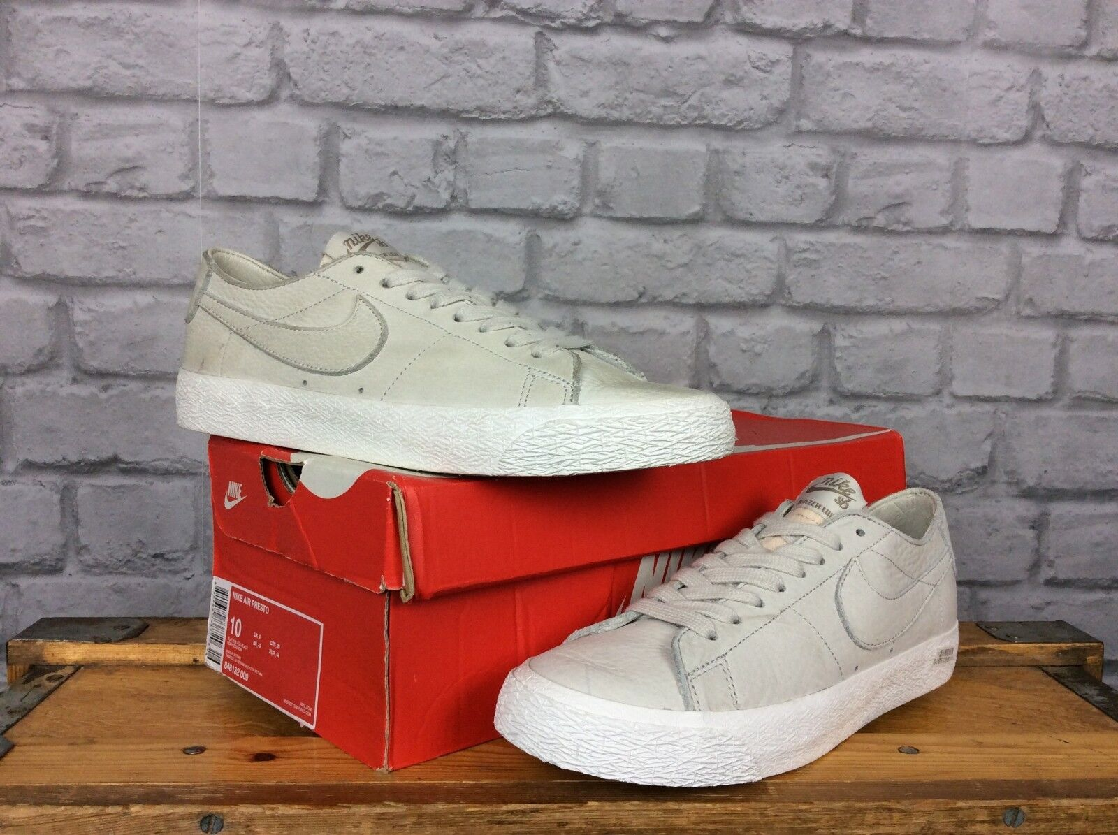 Nike Pour Hommes Trainers Gris Blanc SB Zoom Blazer Low Trainers Hommes 859527
