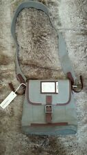 Diesel Messenger Bag NEW Canvas Leather Army Green Gray NWT