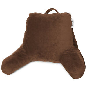 Soft-Shredded-Memory-Foam-Reading-amp-TV-Bed-Rest-Pillow-With-Pockets-Chocolate