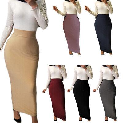 Muslim Women Bodycon Pleat Skirt Slim High Waist Stretch Long Maxi Pencil Dress