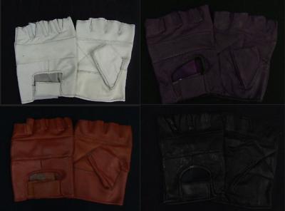 Affidabile Guanti Senza Dita In Pelle (viola, Rosso, Bianco, Nero, Tutte Le Taglie)-mostra Il Titolo Originale