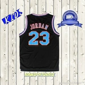 buy online 198a6 30d42 Details about Michael Jordan Space Jam Jersey Tune Squad Basketball KIDS  Black #23 Stitched