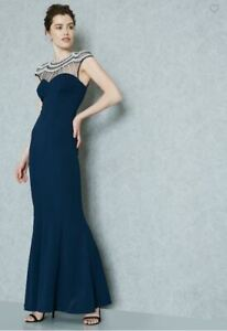 New-Quiz-Navy-Embellished-yoke-Neck-Evening-Dress-Maxi-Sizes-Womens-Sizes