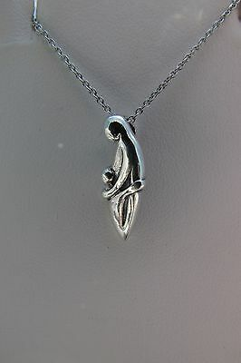 "Mother and Child Sterling Silver Pendant Necklace on 18"" Chain 925"