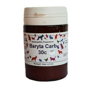 Details about 50g Phytopet Homeopathic Baryta Carb 30c Old Dog Whelping Pup  Animal Chest Probs