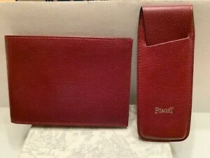 PIAGET WATCH CO. WOMENS RED LEATHER BIFOLD WALLET AND LIPSTICK CASE - NEW