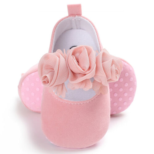 Newborn Baby Girl Floral Pram Shoes Infant First Shoes Toddler Dress Shoes 0-18M