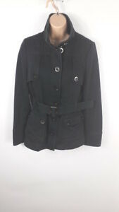 WOMENS-NEXT-PETITE-BLACK-BUTTON-AND-ZIP-UP-BELTED-COAT-SIZE-UK-12