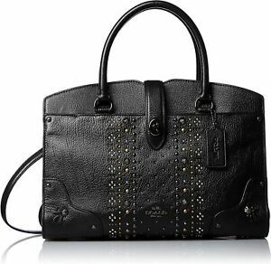 COACH BANDANA RIVETS MERCER SATCHEL 30 IN POLISHED PEBBLE LEATHER BAG