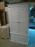 Pine Factory Direct Victorian Gents 2 Drawer Wardrobe Painted Grey Shabby Chic
