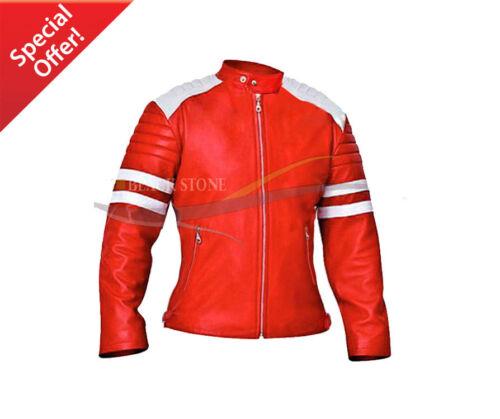 Leather Red Size Ladies Jacket Fashion Motorbike Xs Style aa5Y1x