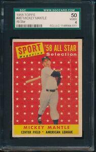 1958-Topps-Baseball-Mickey-Mantle-AS-487-SGC-50-YANKEES-VG-EX-HOF