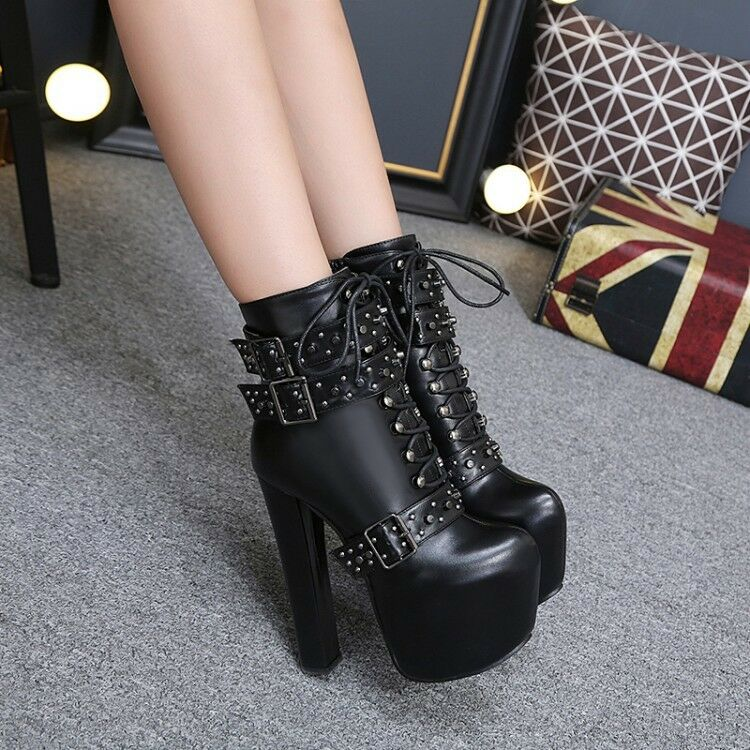 New Women's Punk Stud Ankle Boots Platform High Heels Round Toe Club Party shoes