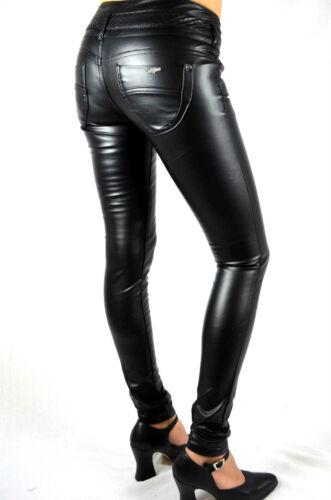 Jeans Optics Slim Leather da Black donna Fit 026 Tube Faux Pantaloni OqaIw7