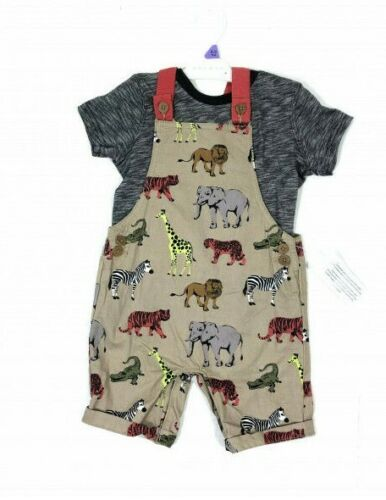 Ex Nutmeg Baby Boys Safari Animals Dungarees /& Top Outfit N//B 0 1 3 6 9 12 18 24