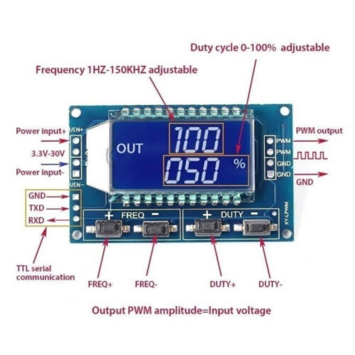 Signal Generator PWM pulse Frequency Duty Cycle Adjustable LCD Module 3.3V-*SI
