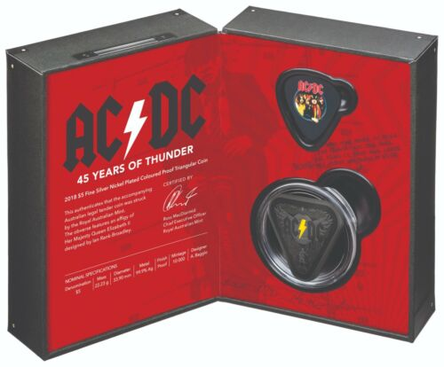 AUSTRALIA ACDC 45 YEARS OF THUNDER 2018 $5 SILVER NICKEL PLATED PROOF COIN