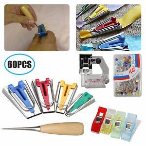 60pcs Set Bias Tape Maker Kit for Sewing &Quilting Awl and Binder Foot DIY Tools