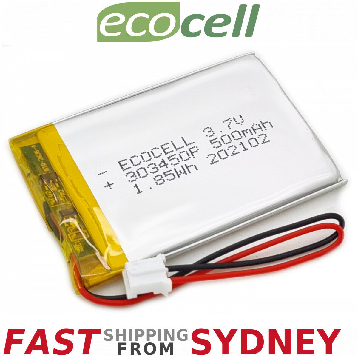 Polymer Lithium Ion Battery LiPo 500mAh 3.7V 303450 JST Connector, SYDNEY