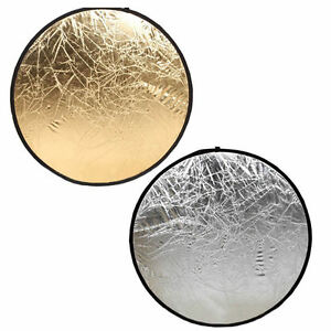 """New Photo Studio Reflector Gold /Silver 2In1 Multi Collapsible Disc 24"""" Diameter"""