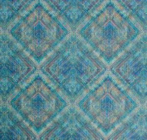 Moroccan Diamond Geometric Teal Green Royal Blue Upholstery Drapery